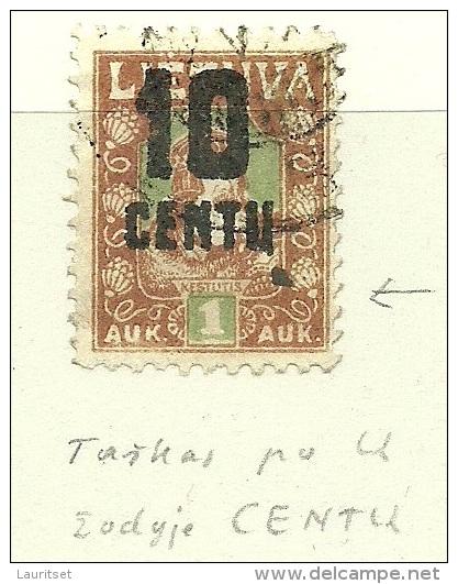 LITAUEN Lithuania 1922 Michel 167 ERROR Abart Variety O - Lithuania
