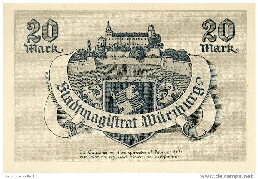Deutschland, Germany, Gutschein Der Stadt Würzburg, Set - 10 & 20 Mark, UNC, 1918 ! - Collezioni