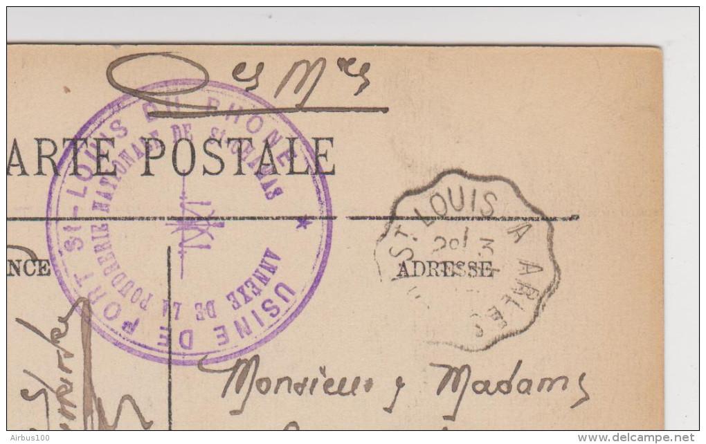 3 SEPTEMBRE 1905 CACHET USINE DE PORT St LOUIS DU RHÔNE ANNEXE DE LA POUDRERIE NATIONALE DE St CHAMAS SUR CARTE ARLES - Arles