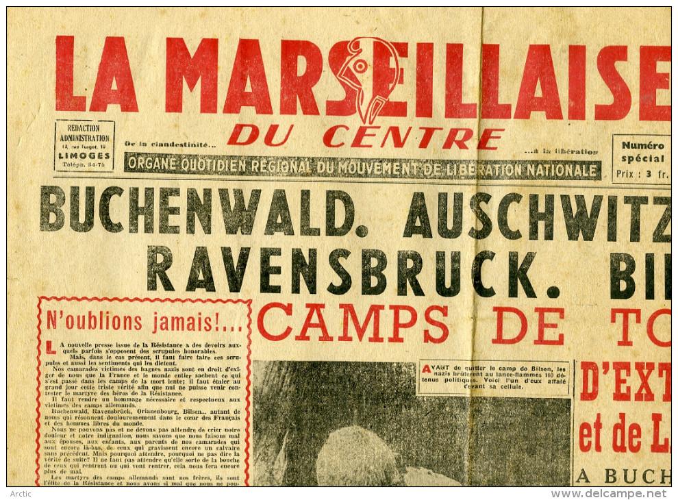 La MARSEILLAISE Du CENTRE Organe Quotidien Régional Du Mouvement De Liberation Nationale BUCHENWALD - Journaux - Quotidiens
