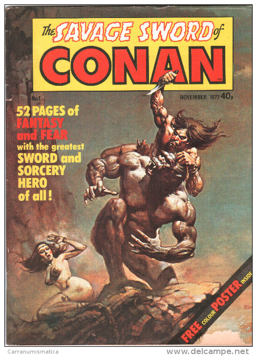 The SAVAGE SWORD Of CONAN # 1 - UK Magazine ( November 1977 ) With POSTER - Marvel