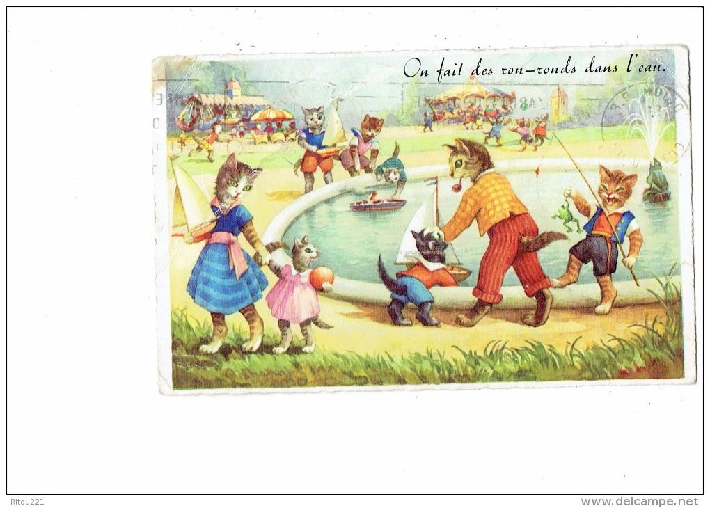 Carte Fantaisie - Chats Humanisés à La Fête Foraine Manège Carrousel Pêche Bateau Grenouille Pipe Ballon - M.D. 2215 - Katzen