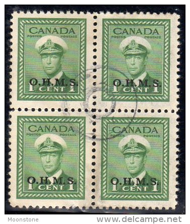 Canada GVI 1949 ´OHMS´ Official 1c Value Block Of 4, Fine Used - Overprinted
