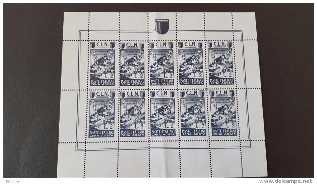Italy 1944 CLN Aosta 2 Lire Mint Sheetlet - Italy