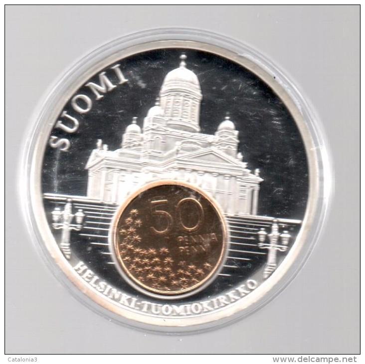 FINLANDIA - EL DINERO DE EUROPA - Medalla 50 Gr / Diametro 5 Cm Cu Versilvert Polierte Platte - Finlandia