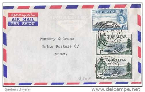L-GB 56 - GIBRALTAR N° 130-138 Sur Lettre Par Avion Pour Reims - Gibilterra