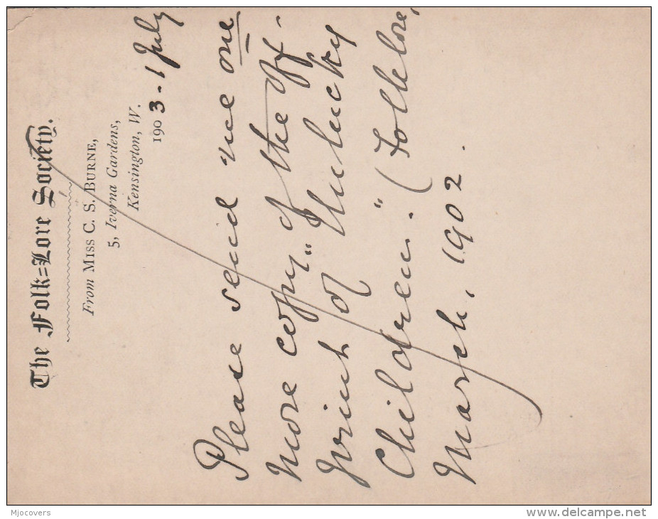 1905 GB KENSINGTON FOLKLORE Society POSTAL STATIONERY CARD Kensngton Duplex  Pmk Evii E7 Stamps Cover - Stamped Stationery, Airletters & Aerogrammes