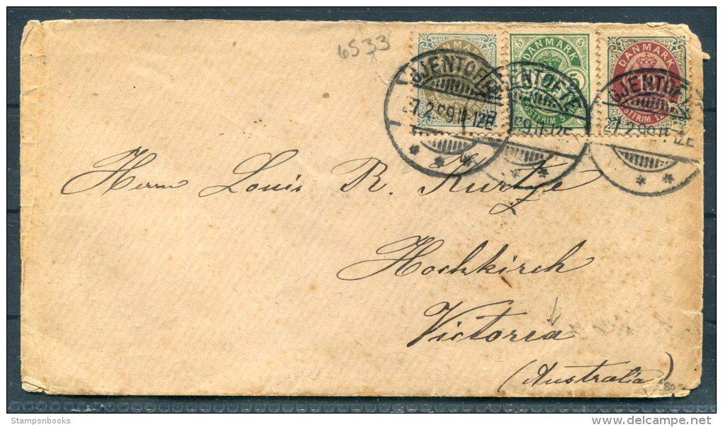 1899 Denmark Gjentofte Cover - Hamilton, Victoria, Australia - 1864-04 (Christian IX)