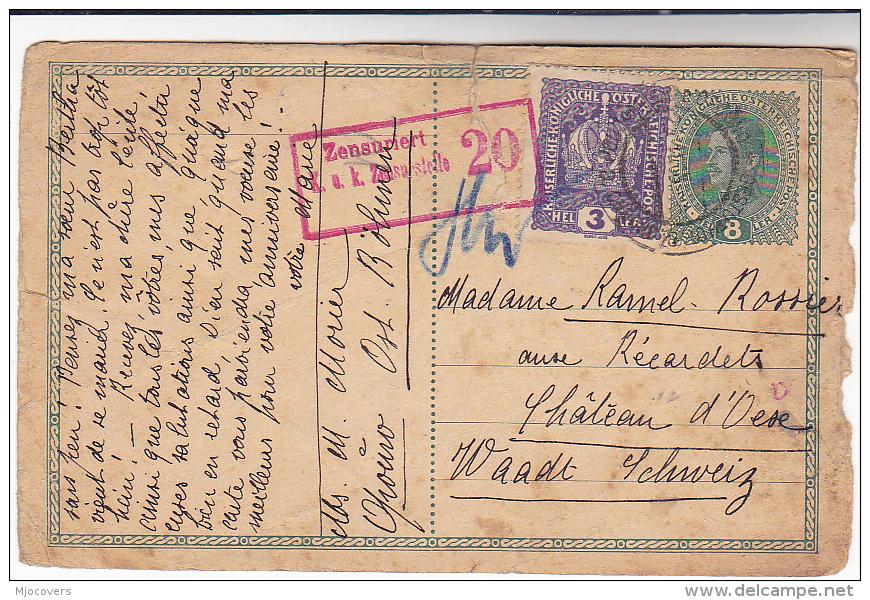 1918 CENSOR ZENZURIERT AUSTRIA Opouno BOHEMIA UPRATED Postal STATIONERY CARD Waadt SWITZERLAND Stamp Censored Censor Wwi - Covers & Documents