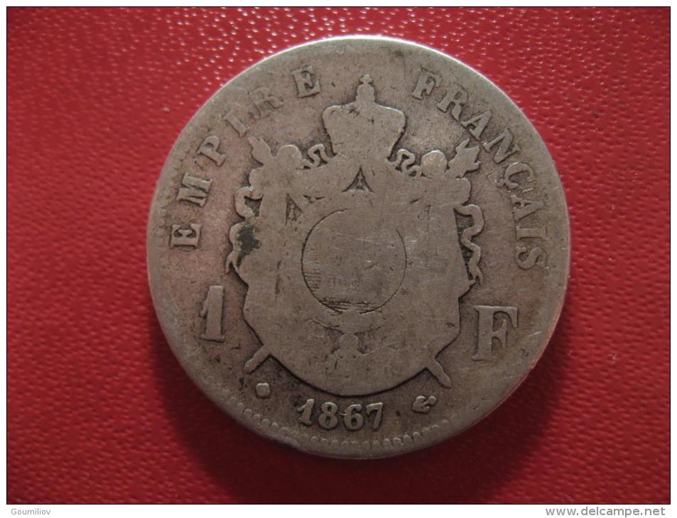 1 Franc 1867 BB Strasbourg Napoléon III 1568 - H. 1 Franc