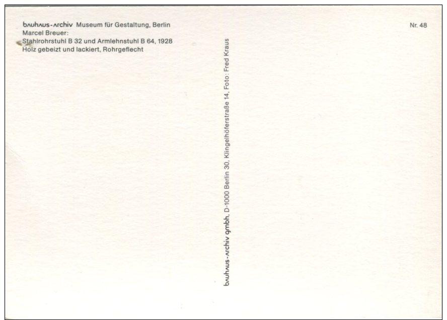 Bauhaus Archiv Postcard, Museum Fur Gestaltung, Berlin, Marcel Breuer, Stahlrofrstuhl B32 Und Armlehnstuhl B64, 1928 - Museum