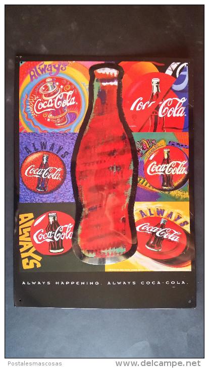 CARTEL CHAPA METALICA DECORATIVA PUBLICIDAD COCA COLA COKE BOTELLAS DE COCA-COLA AÑOS 90 - TENGO MAS CHAPAS - Plaques émaillées & En Tôle