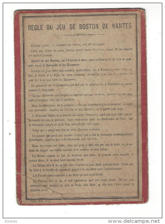 ( Cartes à Jouer ), Règle Du Jeu De Boston De Nantes - Paiements ... ( Carton Ancien, Coyen éd. Paris, Leroy Imp. Paris - Cartes