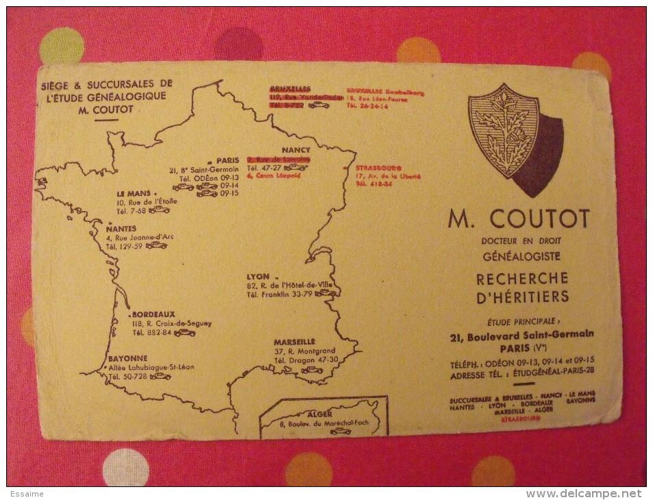 Buvard Coutot. Généalogie. Recherche D'héritiers. Vers 1950. - Buvards, Protège-cahiers Illustrés