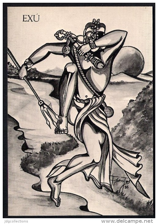 # 1. EXU, ORIXA ESOTERIC BRAZIL PRINT Art Print Stampa Gravure Druck Brasil Bresil Brazilien Religion - Religion & Esotericism