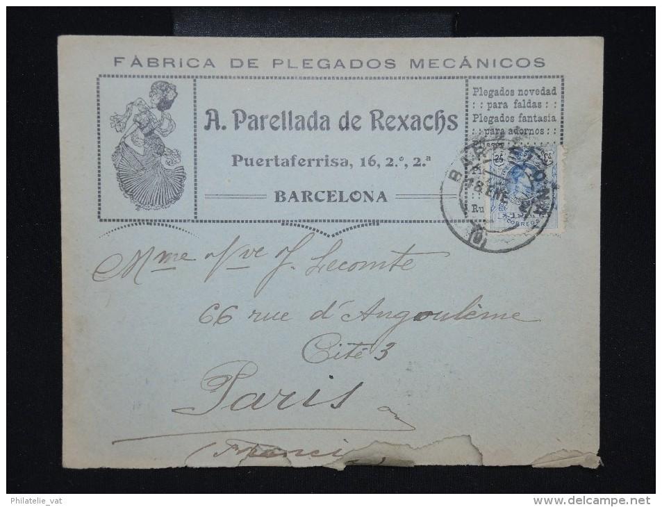 ESPAGNE - Enveloppe Commerciale De Barcelonne Pour Paris En 1912- à Voir - Lot P9127 - Cartas