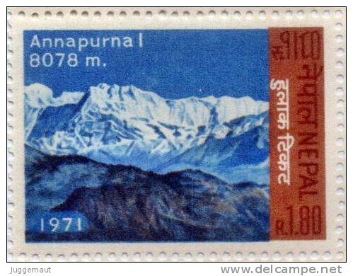 MT.ANNAPURNA 1 HIMALAYAN MOUNTAIN RUPEE 1.80 STAMP NEPAL 1971 MINT MNH - Geologia