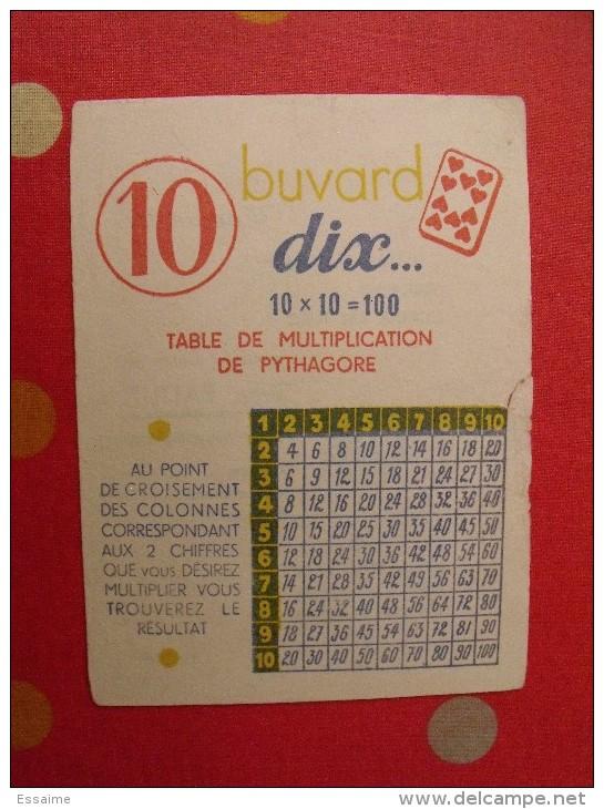 Buvard Dix. Table De Multiplication De Pythagore. Vers 1950. - Buvards, Protège-cahiers Illustrés