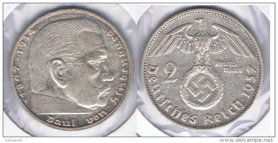 ALEMANIA DEUTSCHES REICH 2  MARK 1937 G PLATA SILVER. Z - 2 Reichsmark