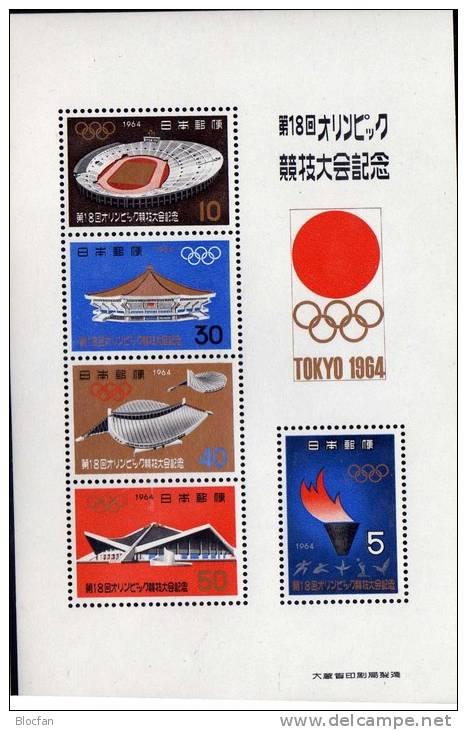 Tokyo Sommer-Olympiade 1964 Japan Block 73 ** 6€ Stadion Sporthalle Budokan Flamme Hb Sport Bloc Olympic Sheet Bf Nippon - Summer 1964: Tokyo