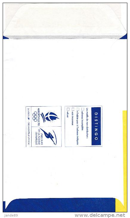 """Entiers Postaux - N° 2001-E - Enveloppe """"DISTINGO"""" Montée à L´étage - Logotype JO D´Alberville 92 - Prêts-à-poster:  Autres (1995-...)"""