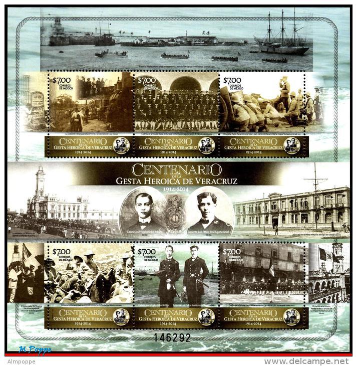 Ref. MX-V2014-08 MEXICO 2014 HISTORY, CENT. OF THE HEROIC DEEDS, OF VERACRUZ, 1914, SHIPS, WAR, S/S MNH 6V - Mexico