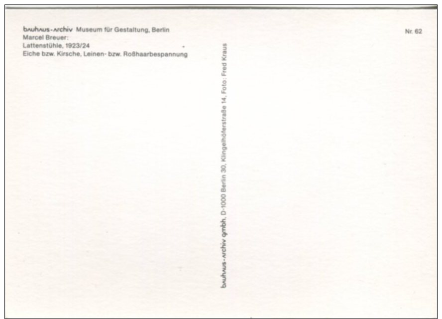 Bauhaus Archiv Postcard, Museum Fur Gestaltung, Berlin, Marcel Breuer, Lattenstuhle 1923/24 - Museum