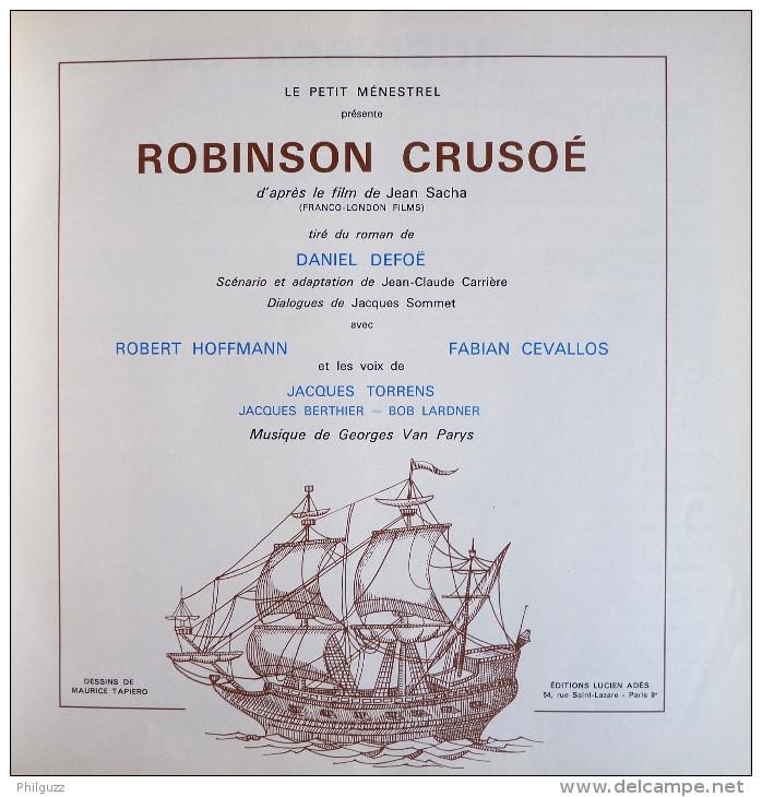 RARE Disque Vinyl 33T 25 Cm Double Album 2 Disques ROBINSON CRUSOE - D DEFOE R HOFFMANN ADES ALB 405 1975 - Disques & CD