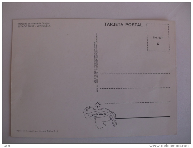 Postcard Postal Venezuela Estado Zulia Mercado De Artesania Guajira - Venezuela