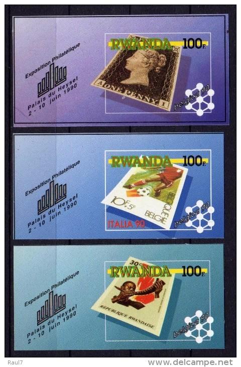 RWANDA 1990 - Belgica´90, Timbres Sur Timbres - 3 BF Neuf // Mnh // Rares - 1990-99: Neufs