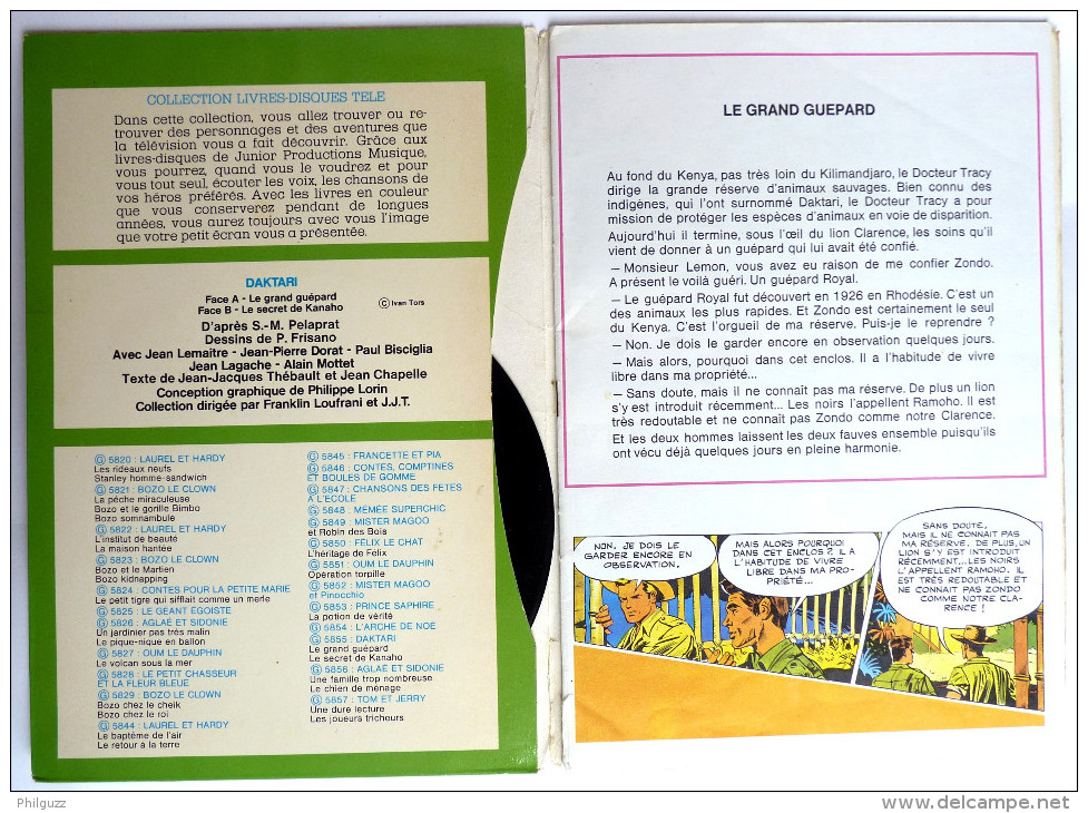 RARE Vinyle Disque 45T DAKTARI - JPM 5855 1974 Pochette Et BD Intérieure FRISANO - Disques & CD