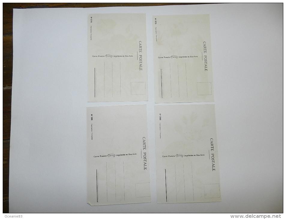 4 CARTE POSTALE HENRY EAU FORTE   - POIS SENTEUR / CYCLAMENS / ROSES / CAMPANULES - Fiori