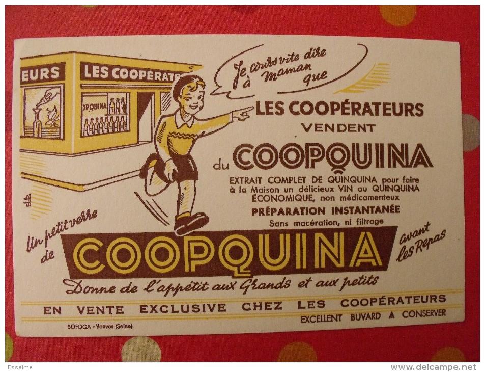 Buvard Coopquina Quinquina Vin Coopérative Coopérateurs . Vers 1950. - Buvards, Protège-cahiers Illustrés