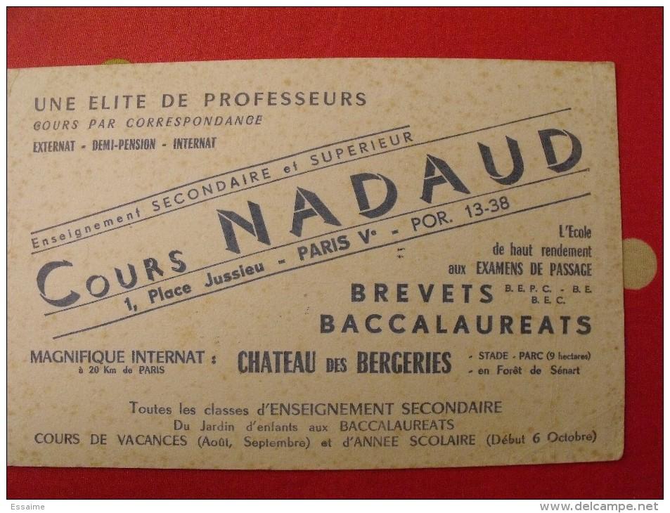 Buvard Cours Nadaud. Baccalaureats, Brevets. Paris. Vers 1950 - Löschblätter, Heftumschläge