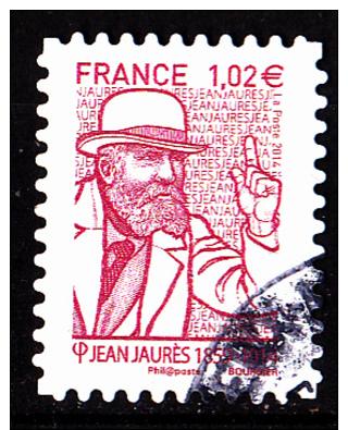 """JEAN JAURES Autoadhésif Issu Du Carnet """"LES BEAUX TIMBRES S´EXPOSENT AU SALON"""" Cachet Rond - France"""