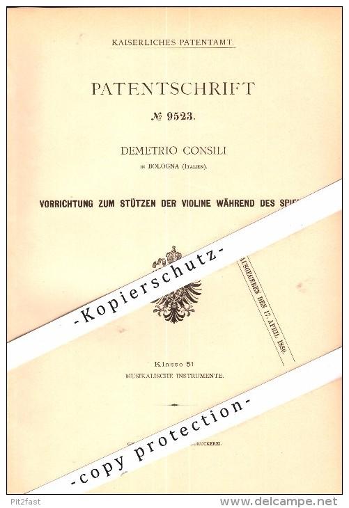 Original Patent - Demetrio Consili In Bologna , Italia , 1879 , Supporto Per Violino , Musica !!! - Musikinstrumente