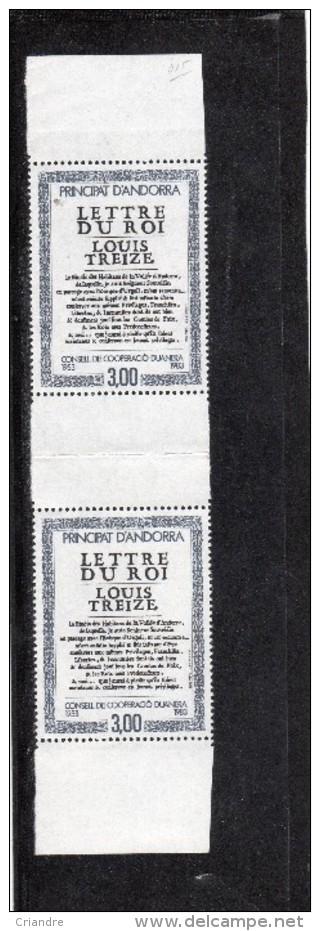 Andorre Paire Verticale 30 ème Annversaire Conseil Coopération Douanière  N° 315** - Unused Stamps