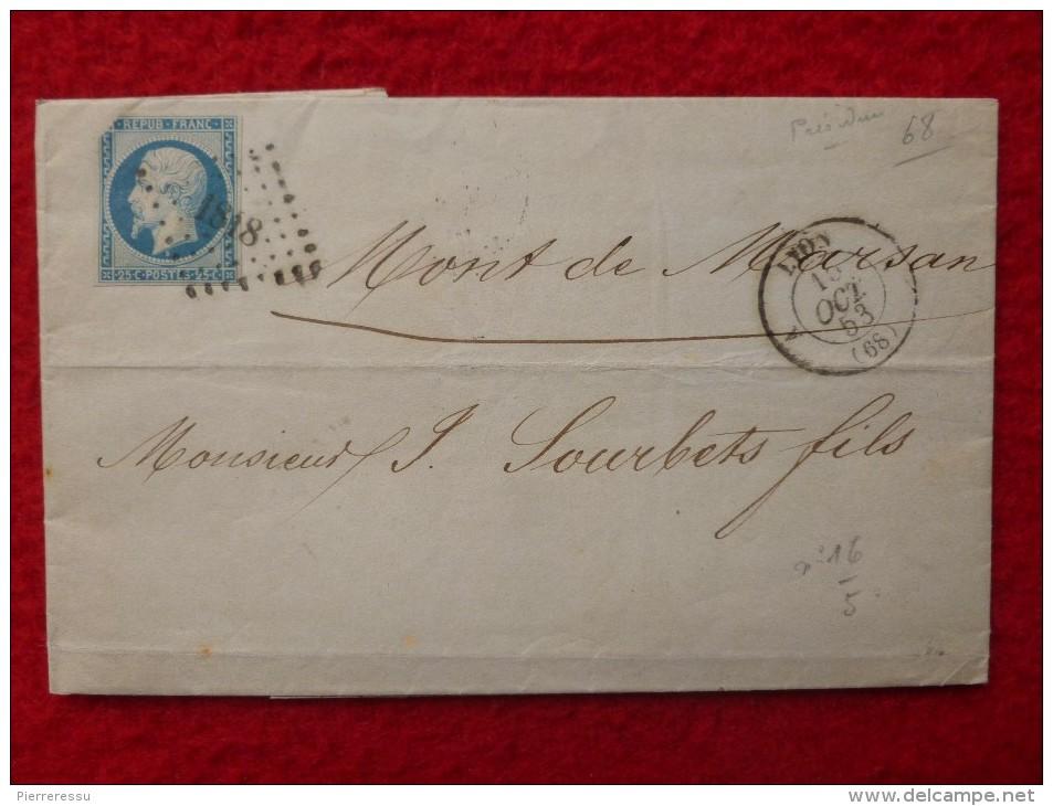 NAPOLEON 10 PC 1818 LETTRE 1853 - Marcophilie (Lettres)