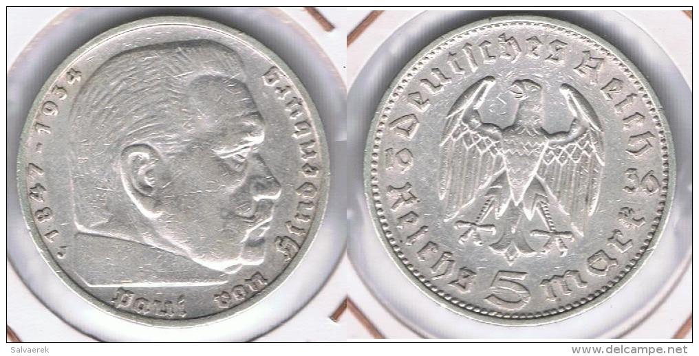 ALEMANIA DEUTSCHES REICH 5 MARK 1936 J  PLATA SILBER. Y - [ 4] 1933-1945 : Tercer Reich