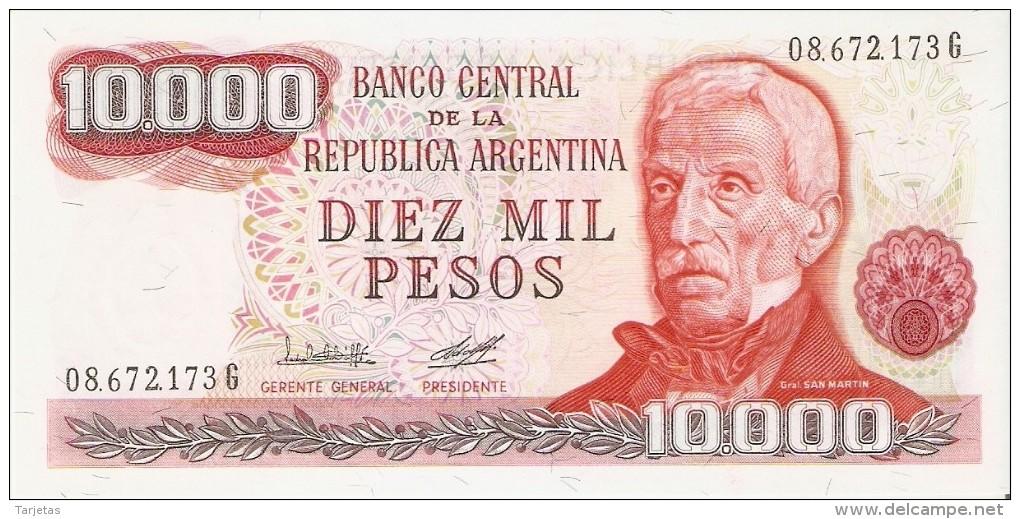 BILLETE DE ARGENTINA DE 10000 PESOS GRAL SAN MARTIN DIFERENTES FIRMAS (BANKNOTE) SIN CIRCULAR-UNCIRCULATED - Argentina