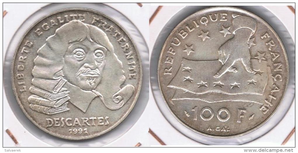 FRANCIA 100 FRANCOS FRANCS DESCARTES 1991 PLATA SILVER Y - Finlandia