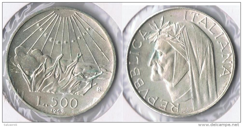 ITALIA 500 LIRA R 1965 PLATA SILVER Y - 1946-… : República