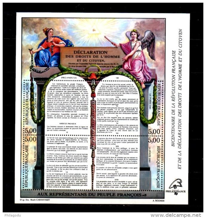 Bicentenaire De La Révolution,, 5 X  BF 11**, Cote 75 €,    Neufs Sans Charnière  Vendu Sous Valeur Affranchissement - Blocchi & Foglietti