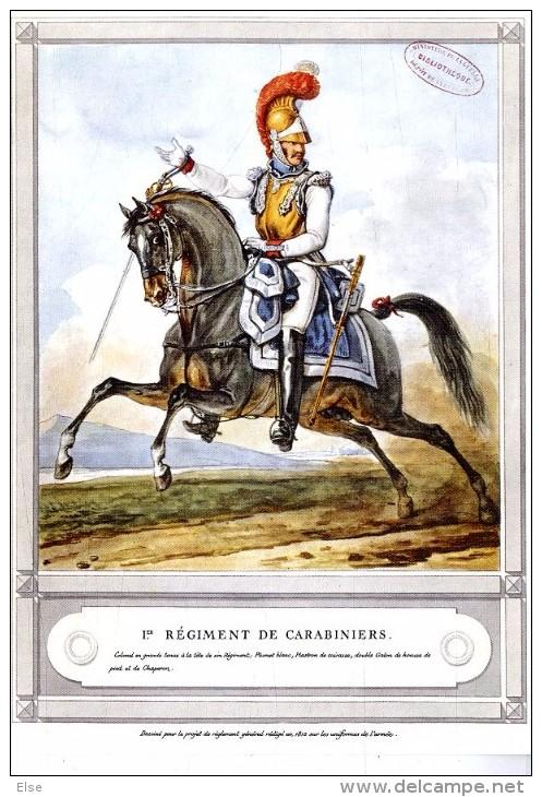 1er REGIMENT DE CARABINIERS  CARTE PUBLICITAIRE ILLUSTRATION CARLE VERNET - Uniformen