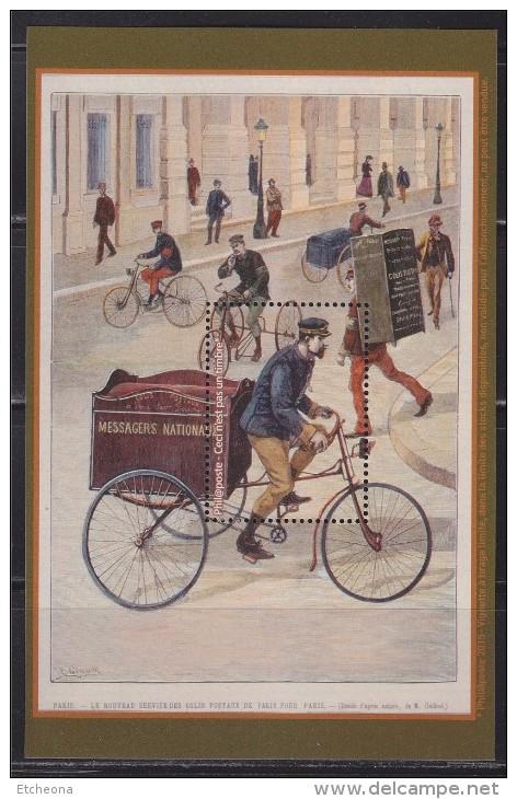 = 4 Blocs Gommés émis Par La Poste Reprise CP Anciennes: Courriers Wagon Poste Facteur Vœux, Tricycle Messageries Neuf S - Blocs & Feuillets