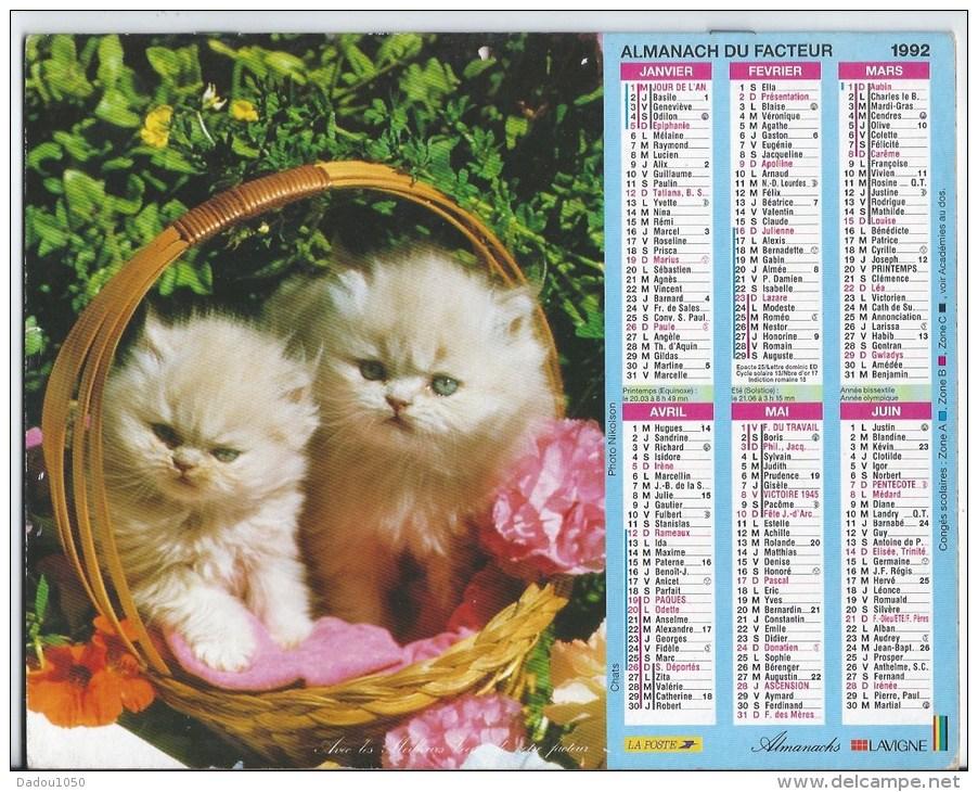 Calendrier Des Postes 1992 69 Rhone - Calendriers