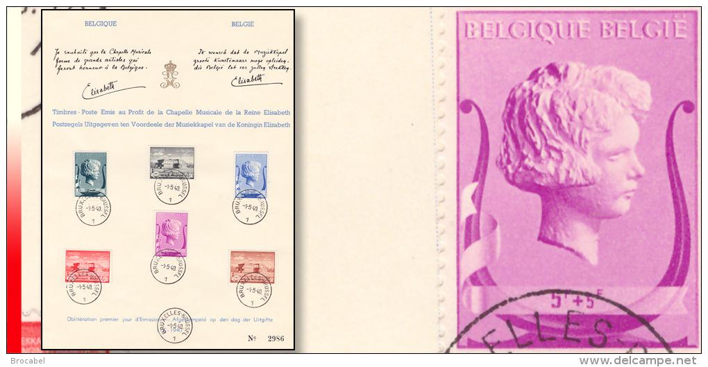 Belgium 0532/37(o) Chapelle Musicale Reine Elisabeth 1-5-40 - FDC