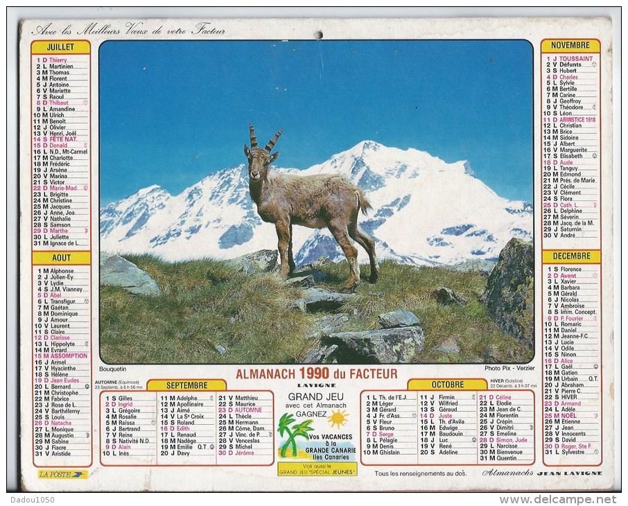 Calendrier Des Postes 1990  69 Rhone - Calendriers
