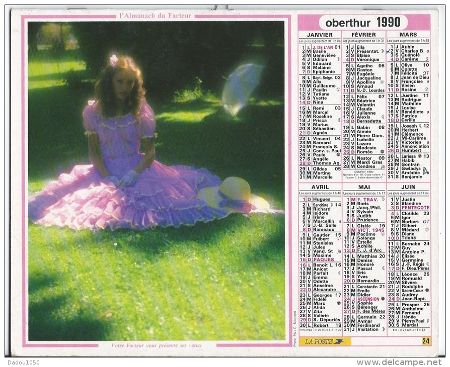 Calendrier Des Postes 1990  83 Var - Grand Format : 1991-00