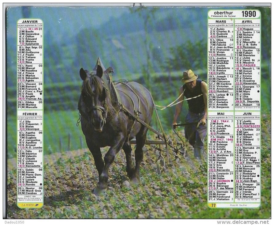Calendrier Des Postes 1990  01 Ain - Calendriers